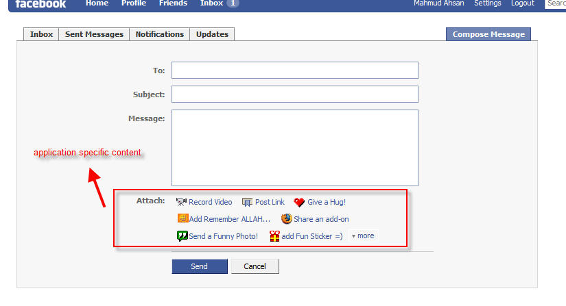attach application's content in facebook message ...
