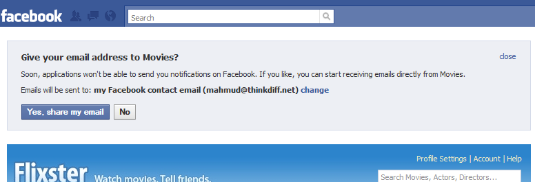 email permission in facebook