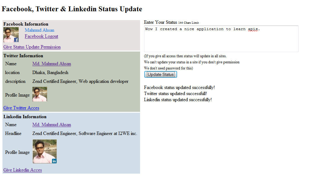 facebook-twitter-linkedin status update