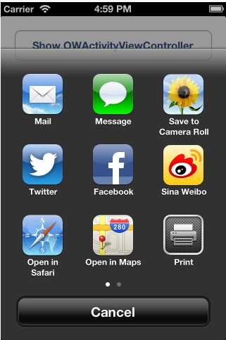 OWActivityViewController for iOS 6.0 users